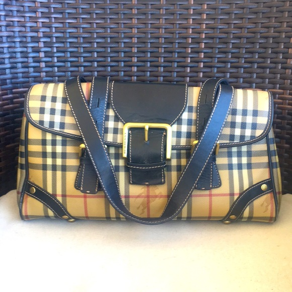 BURBERRY Haymarket Check Coated Canvas Bag